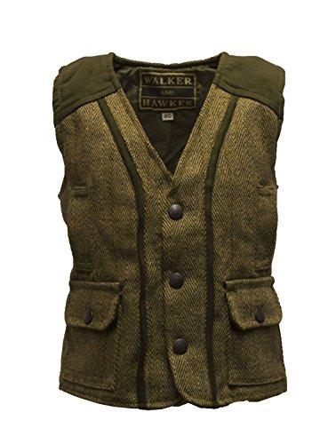 Walker & Hawkes – Chaleco ajustado de lana de tweed para bebé Verde Salvia Claro 22