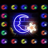 Moon & Star Space Flex Silicone LED Neon Sign White & Blue st16s33-fnu0009-wb