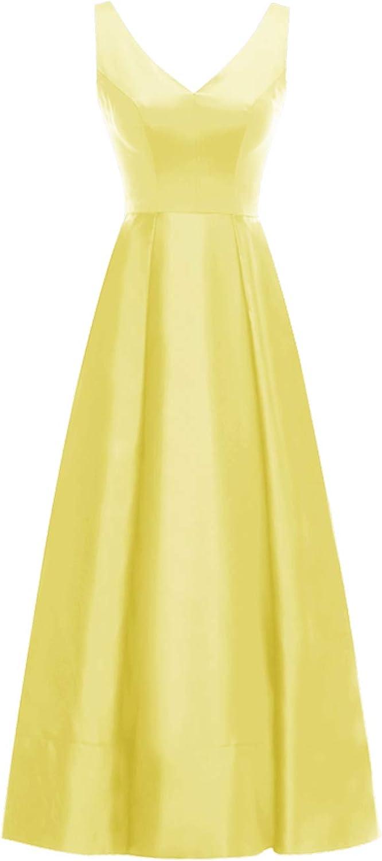 ALAGIRLS Women's Long Wide Straps Dauble VNeck Aline Backless Prom Gowns Evening Dresses