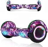 Magic Way Hoverboard - 6.5' - Bluetooth - Motor 700 W - Velocidad 15 km/h - LED - Patinete Eléctrico Auto-Equilibrio - para niños y Adultos (Galaxia púrpura)