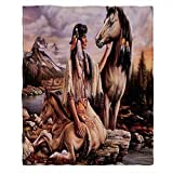 Moslion Soft Cozy Throw Blanket Native American Indian Girl and Horse Fuzzy Warm Couch/Bed Blanket for Adult/Youth Polyester 50 X 60 Inches(Home/Travel/Camping Applicable)