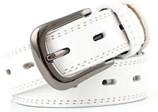 SGJFZD Women's Fashionable Retro Leather Belt Casual Pin Buckle Belt Belt Fashion Trend Leather Women's Belt (Color : White, Size : 105~115 * 2.8cm)