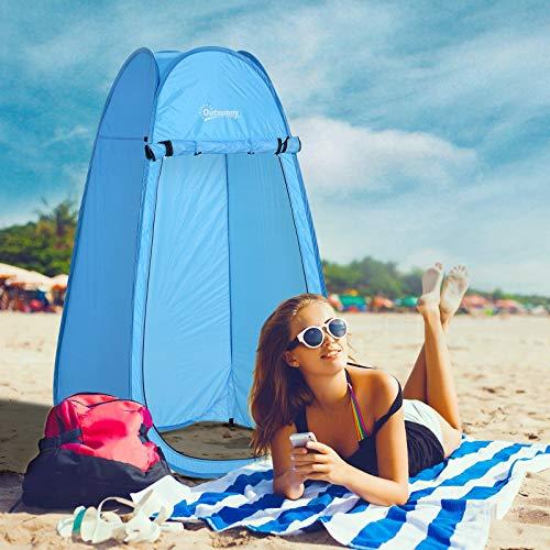 Tienda de Campaña Instantánea Tipo Carpa Ducha Cambiador WC Impermeable para Camping 100x100x185 cm Verde Oscuro