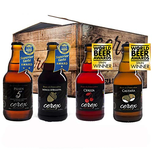 CEREX- Pack Degustación de 8 Cervezas Artesanas - Cerveza de Castaña, Ibérica de Bellota, Cereza y Pilsen