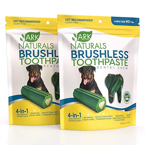 ARK NATURALS Brushless Toothpaste Bundle Pack, Dog Dental Chews for Large Breeds, Vet Recommended for Plaque, Bacteria & Tartar Control, 2 Pack, Green and White (40023)