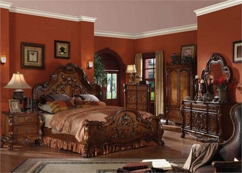 Best Price Antique Cherry Oak Finish Bedroom Furniture Set Eastern King Size Bed 4pc Set