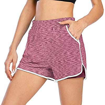 Koscacy Womens Athletic Shorts,Run High Waist Boardshorts Activewear Fitness Running Gym 2in1 Sports Short Active Wear Workout Clothes Elastic Inner Layer Short Soft Pants Red L
