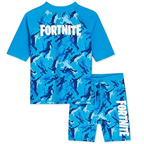 Fortnite Costume da Bagno per Bambino Due Pezzi, Costumi da Bagno per Mare E Piscina, Idea Regalo per Gamers da 7 A 14 Anni (Blu Mimetico, 7-8 Anni)