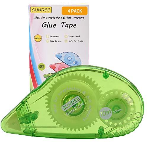 Rollo de cinta adhesiva permanente de doble cara para scrapbook Runner – 0,8 cm x 800 pulgadas – Aplicador de rodillos adhesivos permanentes, verde, paquete de 4
