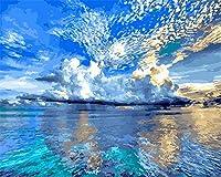 番号キットでペイント大人 のためのキャンバス油絵キット3つのブラシと明るい色(フレームレス)16x20インチのアクリル絵の具-美しい青い空