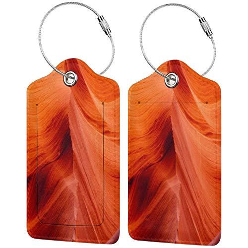 FULIYA Juego de 2 etiquetas de equipaje seguras de alta gama de cuero para maletas, tarjetas de visita o bolsa de identificación de viaje, cueva, cañón, rocas, piedra, textura