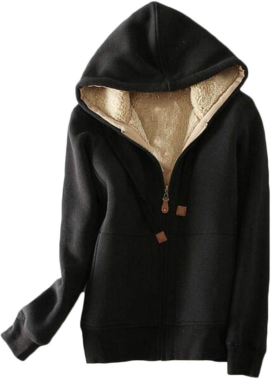 JSYCA Women Sweatshirt Sherpa Thick Hoodie Slim Fit Coat Jacket