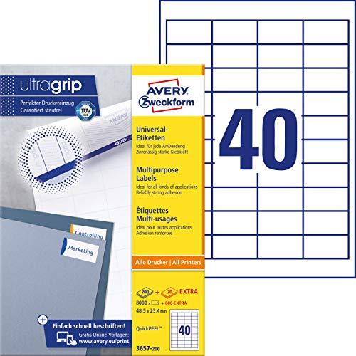 AVERY Zweckform 3657-200 Universal Etiketten (8.000 plus 800 Klebeetiketten extra, 48,5x25,4mm auf A4, Papier matt, individuell bedruckbar, selbstklebende Aufkleber mit ultragrip) 220 Blatt, weiß