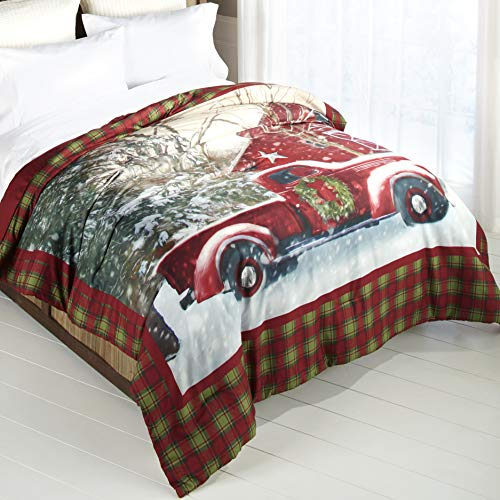 Home for The Holidays Plaid Holiday Truck Comforter - Full and Queen