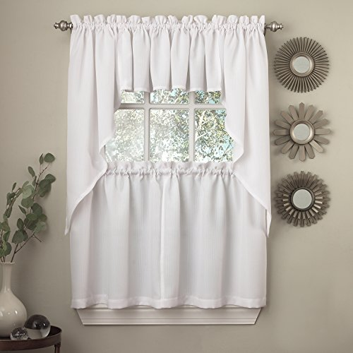 """Sweet Home Collection 5 Pc Kitchen Curtain Set-Valance Swag Choice of 24"""" or 36"""" Tier Pair, Ribcord White"""