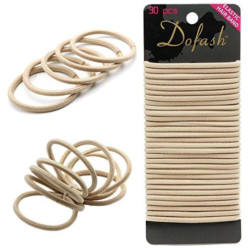 Haargummi Halter Haarband Elastisch Stirnband Für Pferdeschwanz Halter für Dicke Schwere und Lockiges Haar Zubehör(Beige 30 Stück)