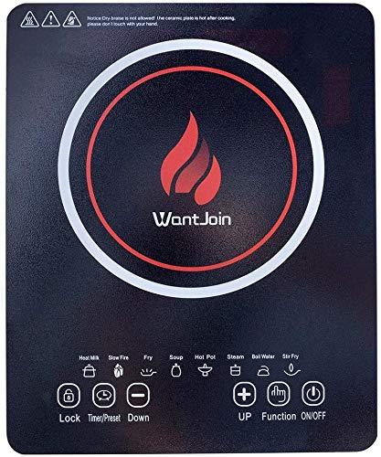 WantJoin Induktionskochfeld, Einzel-Induktionsherd tragbar Design, Sensor-Touch-Steuerung und Sicherheitsschloss 2000W Schwarz