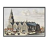 IUYTRF Póster de mapa del mundo vintage Edificios de la ciudad de Amsterdam Pinturas clásicas en lienzo Carteles de pared vintage Pegatinas -50X80 cm Sin marco 1 Uds