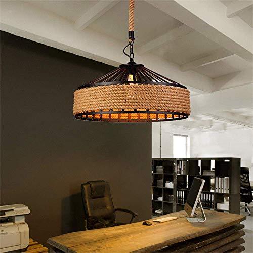 GYC - Candelabros de luz Retro, portalámparas E27, lámpara Colgante de Hierro con Cuerda de cáñamo, lámpara de Techo Ajustable en Altura máxima de 60 W, Adecuada para Sal
