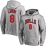 Sudadera con Capucha de Baloncesto, ChicagoBulls Deportes Camiseta de Zach LaVine Loose Jersey Pullover Hombres y Mujeres Entrenamiento De Manga Larga Top S-3XL (Color : F, Size : XXX-Large)