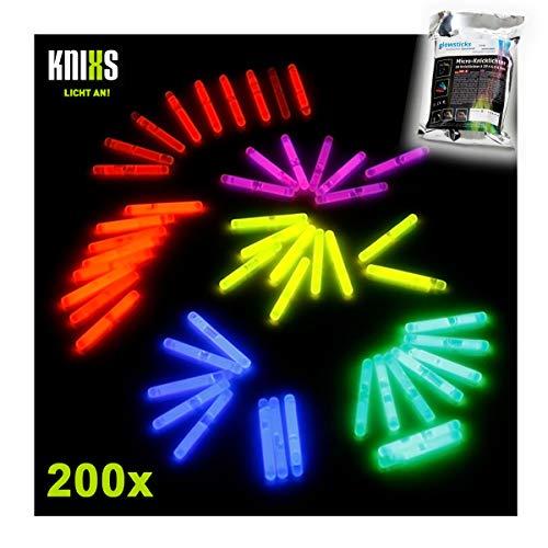 KNIXS - 200 Stück Micro Knicklichter Bissanzeiger - Vorteilspack - 6 Farbmix - 40mm x 4,5 mm für Party/Angelsport (Bissanzeiger) / Luftballons oder als Dekoration