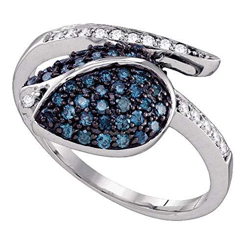 Saris and Things 10k White Gold blau farbverbessert Diamant-Frauen der Frauen Classy tulpe-Blumen-Cluster-Ring 1/2 cttw