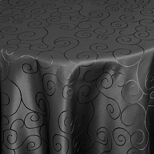 Moderno® Tischdecke Tischtuch Damast Ornamente mit Saum, Eckig Oval Rund Größe und Farbe wählen oval 160x220 cm in Schwarz - Premium Qualität mit umgenähtem Rand und Öko Tex Zertifikat
