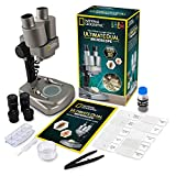 National Geographic Dual LED Student Microscope - 50+ pc Science Kit Includes Set of 10 Prepared Biological & 10 Blank Slides, Lab Shrimp Experiment, 10x-25x Optical Glass Lenses and More! (Silver)