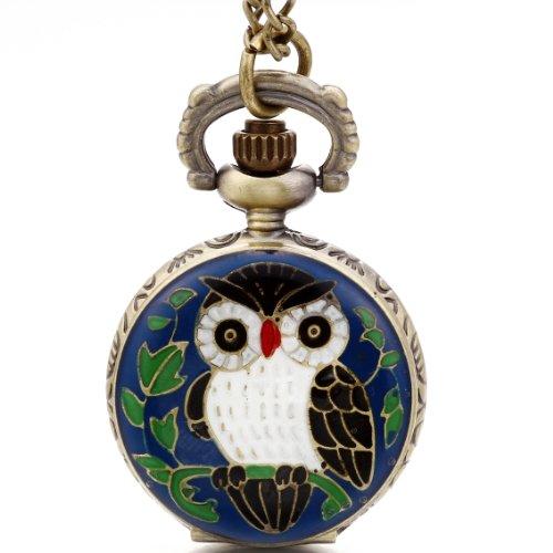JewelryWe - Orologio da tasca al quarzo, motivo: gufo, lunghezza catena 79 cm, con sacchetto regalo, colore: blu