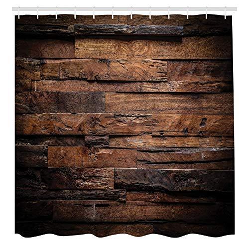 KEKESHIGEDOU Duschvorhänge Schokolade, Grobes Dunkles Holz, mit 12 Ringe Set Wasserdicht Stielvoll Modern Farbfest & Schimmel Resistent, Dunkelbraun Braun
