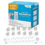 Baby Proofing Magnetic Cabinet Locks Child Safety - VMAISI 12 Pack Children Proof Cupboard Baby Latches - Adhesive Magnet Drawers Locks No Drilling (White)