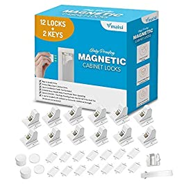Baby Proofing Magnetic Cabinet Locks Child Safety – VMAISI 12 Pack Children Proof Cupboard Baby Latches – Adhesive Magnet Drawers Locks No Drilling (White)