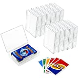 12 Pieces Playing Card Deck Boxes Empty Plastic Storage Box Card Holder Organizer Clear Card Case, Snaps Closed, Compatible with Pokemon and Artifact