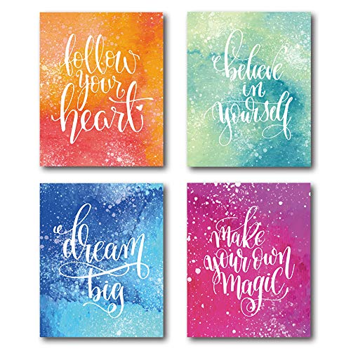 XUWELL Positive Quotes Colorful Watercolor Abstract Wall Art Prints for Girls Woman, Inspirational Poster for Home Office Bedroom Decor, 8 x 10 Inch Set of 4 Prints, No Frame