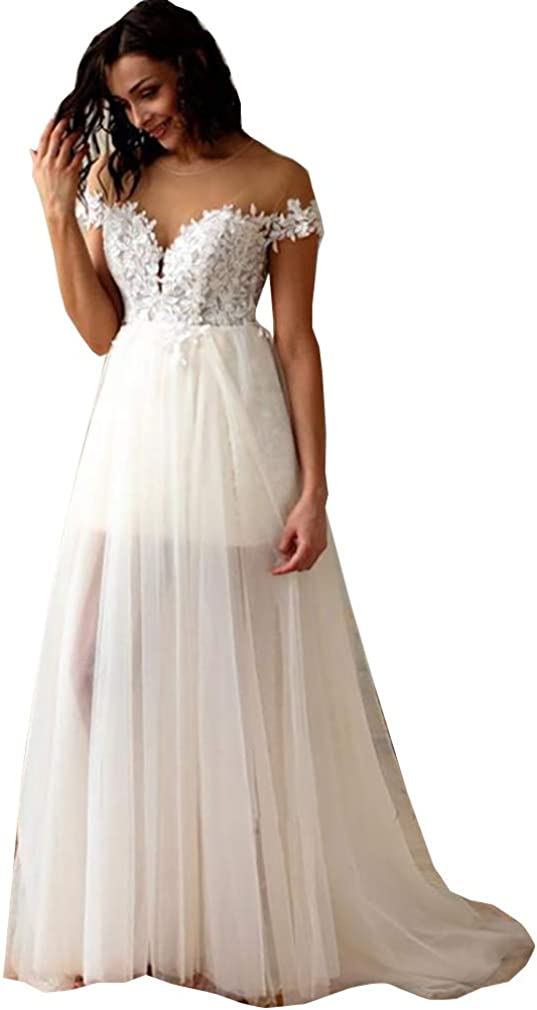 Women's Illusion Short Length Lace Wedding Dresses for Bride with Detachable Train Bridal Ball Gowns