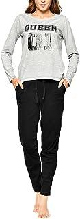 Juqilu Family Matching Pajamas Set Cotton Long Sleeve Top & Long Bottoms Pants Kids Boys Girls Nightwear Queen S