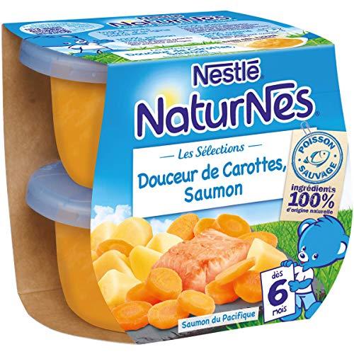 NESTLE NATURNES Les Sélections Petits Pots Bébé Douceur de carottes, Saumon - Dès 6 mois - 2x200g - Pack de 8 ( 16 Pots )