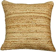 """satTva Cushions Covers - Boho Handmade Jute Rattan Textured Throw Pillow Covers for Living Room Sofa Couch 20""""- Large Squa..."""