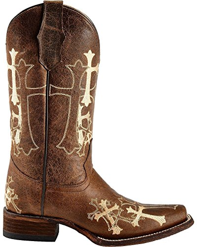Corral Boots Women's Circle G Cross Embroidered Square Toe Western Brown Leather Boots 10 B(M) US