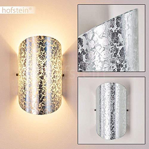 Wandlampe Teramo aus Glas in Silber, moderne Wandleuchte mit Lichtspiel an der Wand, 1 x E14 max. 40 Watt, Innenwandleuchte mit Up & Down-Effekt, geeignet für LED Leuchtmittel