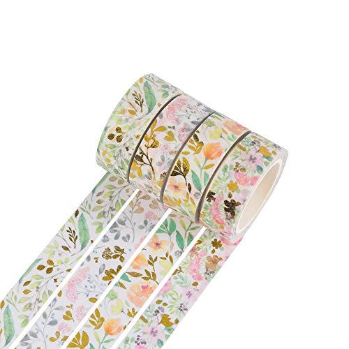 YUBBAEX Washi Tape Gold 4 Rollen Masking Tape Klebeband bunt für Scrapbooking DIY Handwerk (Floral Dream)