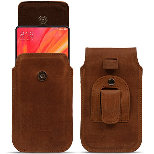 NAmobile Handy Schutzhülle für Xiaomi Serie Hülle Leder Tasche Pull Tab Sleeve Hülle Cover, Farben:Cognac Braun, Smartphone:Xiaomi Mi 4c