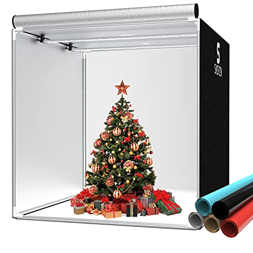 SKSYZN Photo Studio Light Box, 40x40   100x100cm Photo Box Photography Big Size Professional Photo Shooting Tent Kit with 2 Dimmable Light Boards, 168PCS Light Beads, 5 Color Backgrounds