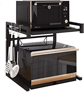 Microwave Oven Rack, Expandable Carbon Steel Microwave Shelf, Kitchen Counter Shelf, 2 Tiers with 3 Hooks