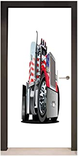 Truck 3D Door Wallpaper American Flag Themed Semi 18 Wheeler Patriotic Transportation Industrial Vehicle Decor Door Mural Red White Blue,W23.6xH78.7
