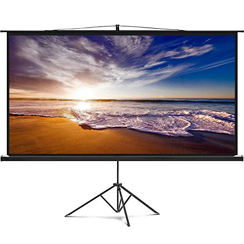 100 Inch (US Based Company) 16:9 Projector Screen with Stand Indoor Outdoor Projection Screen 4K HD 100'' Wrinkle Free Design(Easy to Clean, 1.2 Gain, 160° Viewing Angle) for Movie, Meeting, Events