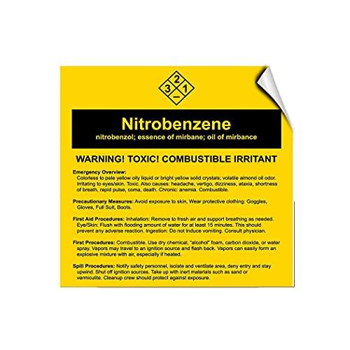 Nitrobenze?ne Nitrobenzo?l; Essence Of Mirbane; Oil Of Mirbane warning stickers Warning Stickers Warning Sign For Property Funny For For Labels Cars Trucks Samll Business Adhesive For Bedroom 10X7