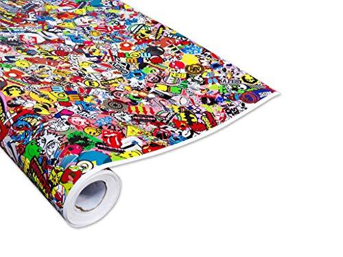 100x150cm Stickerbomb Auto Folie Glanz - Sticker Logo Bomb - JDM Aufkleber - Design: Special