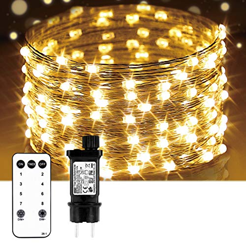 YU YUSING 100 LED Lichterkette mit Fernbedienung 9,9M Wasserdicht Kupferdraht Lichterkette 8 Modi IP65 Wasserdicht Strombetrieben mit EU-Stecker (Warm Weiß)
