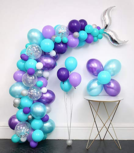 Mermaid Tail Balloons Party Supplies 136pcs Garland Kit (Mermaid tail foil.Silver Confetti.Pearlescent Tiffany Blue Purple.White.)Tying Tools+Decorating Strip+Points Stickers+Flower Clips+Ribbon.Ocean Theme